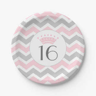 Pink Gray Chevron Crown birthday party plates, age Paper Plate