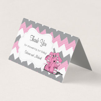 Pink & Gray Chevron Elephant | Candy Toppers Business Card