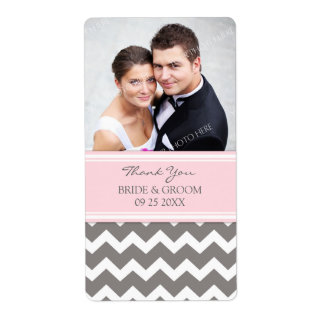 Pink Gray Chevron Photo Wedding Labels