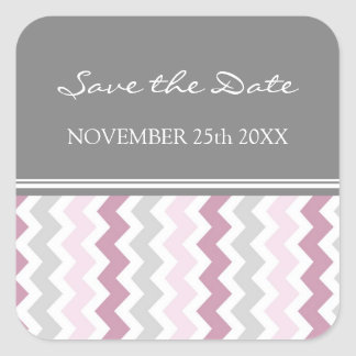 Pink Gray Chevrons Save the Date Envelope Seal Square Sticker