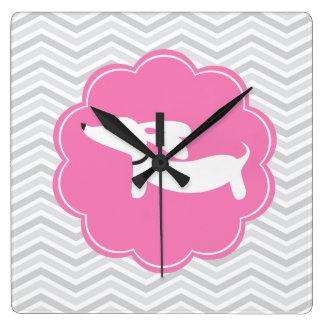 Pink & Gray Dachshund Doxie Nursery Wall Clock