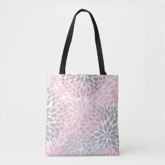 Pink Gray Dahlia Floral Everything Bag Tote Bag