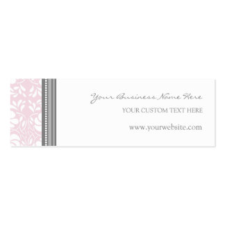 Pink Gray Damask Business Cards