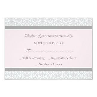Pink Gray Damask RSVP Wedding Card 9 Cm X 13 Cm Invitation Card