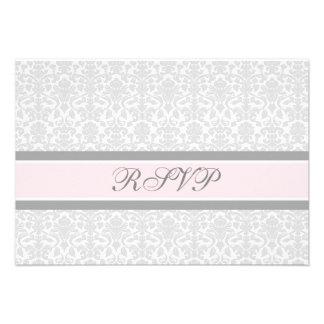 Pink Gray Damask RSVP Wedding Card
