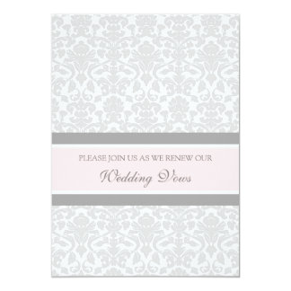 Pink Gray Damask Wedding Vow Renewal Invitations