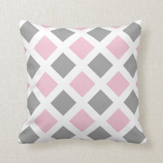 Pink Gray Diamond Geometric Cushion