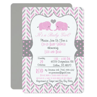 Pink Gray Elephant Baby Shower Invitation