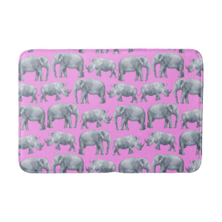 Pink Gray Elephants and Rhinos Watercolor Pattern Bath Mat