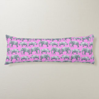 Pink Gray Elephants and Rhinos Watercolor Pattern Body Cushion