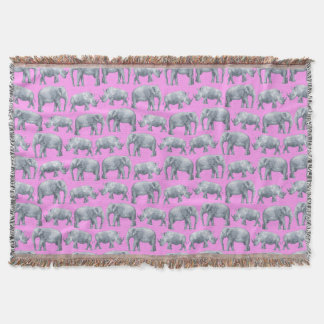 Pink Gray Elephants and Rhinos Watercolor Pattern Throw Blanket