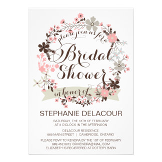 Pink Gray Floral Wreath Bridal Shower Invitation