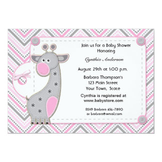 Pink Gray Giraffe Chevron Baby Shower Invitation