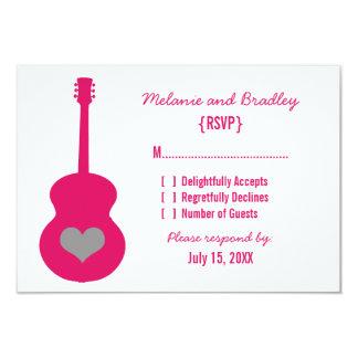 "Pink/Gray Guitar Heart Response Card 3.5"" X 5"" Invitation Card"