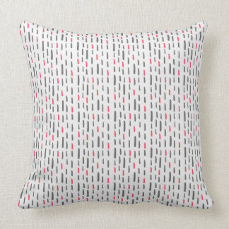 Pink & Gray Hand Drawn Dashes Pattern Throw Pillow