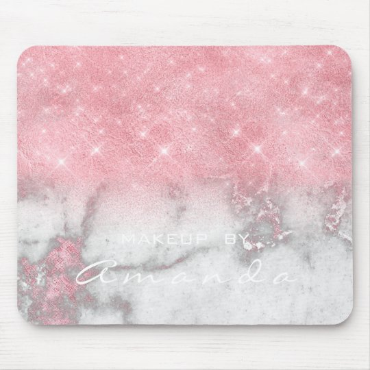 Pink Gray Marble Sparkly Glitter Branding Beauty Mouse