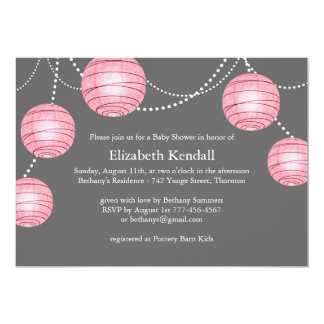 Pink & Gray Party Lantern Baby Shower Invitation
