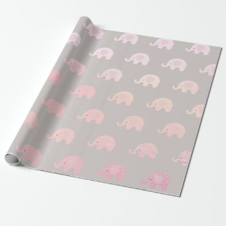 Pink Gray Pastel Princess Elephant New Baby Wrapping Paper