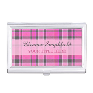 Pink Gray Plaid Tartan Business Card Cases