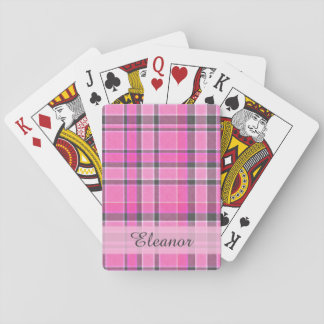 Pink Gray Plaid Tartan Playing Cards