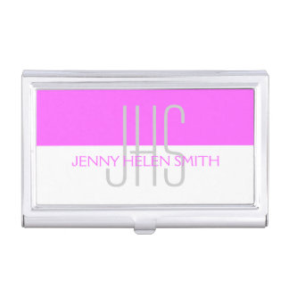Pink gray professional monogram stripes business card holder