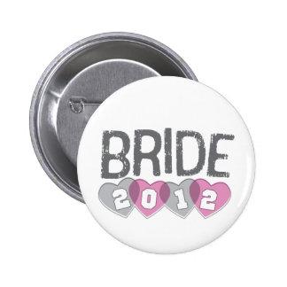 Pink & Gray Vintage Hearts 2012 Bride Button