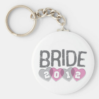 Pink & Gray Vintage Hearts 2012 Bride Key Chains