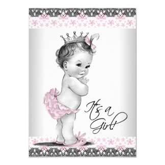Pink Gray Vintage Princess Baby Shower Invitations