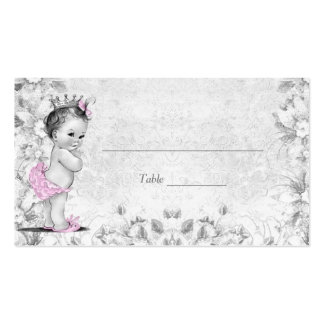Pink Gray Vintage Princess Baby Shower Place Cards Pack Of Standard Business Cards