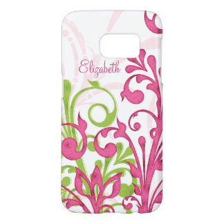 Pink Green Abstract Floral