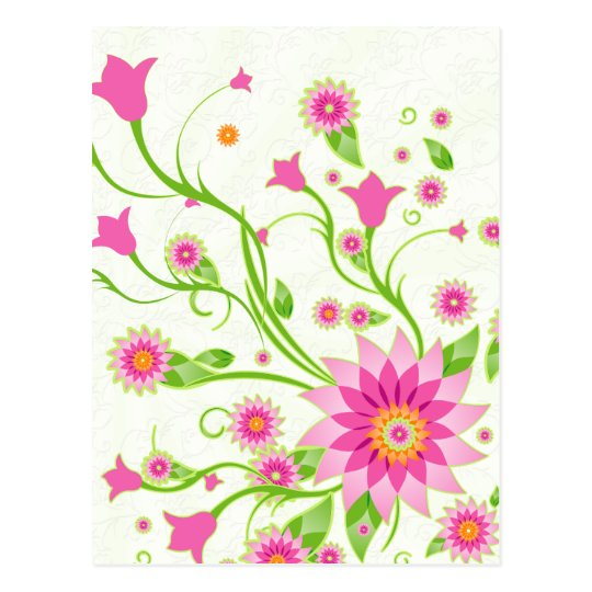 Pink & Green Abstract Floral Design-Light Postcard