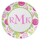 Pink & Green Abstract Flowers Monogram Plate
