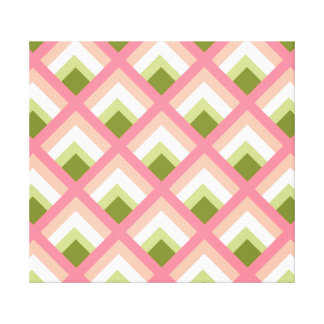 Pink Green Abstract Geometric Designs Color Stretched Canvas Prints