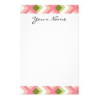 Pink Green Abstract Geometric Designs Color Stationery Paper