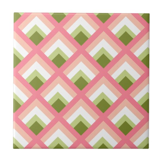 Pink Green Abstract Geometric Designs Colour Small Square