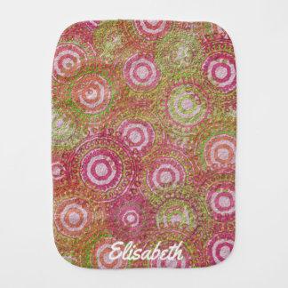 Pink green abstract retro name baby burp cloth