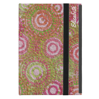 Pink green abstract retro name case for iPad mini