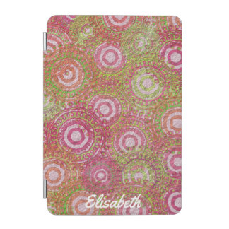 Pink green abstract retro name iPad mini cover