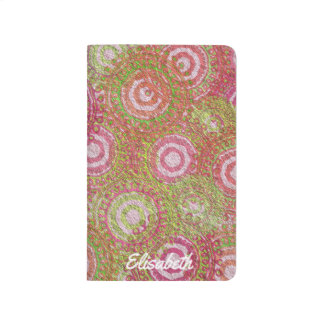 Pink green abstract retro name journal