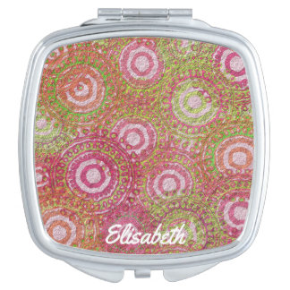 Pink green abstract retro name travel mirrors