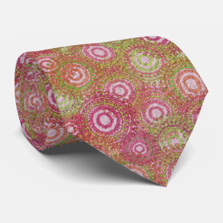 Pink green abstract retro tie
