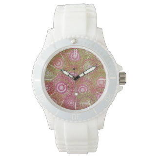 Pink green abstract retro white wrist watches