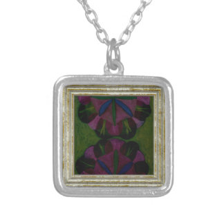 Pink & Green Abstract Silver Plated Necklace