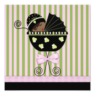 Pink Green African American Baby Girl Shower 13 Cm X 13 Cm Square Invitation Card