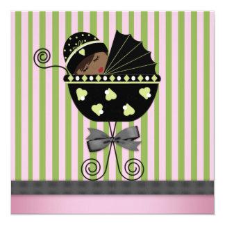 Pink Green African American Baby Girl Shower Custom Invites