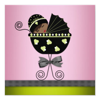 "Pink Green African American Baby Girl Shower 5.25"" Square Invitation Card"