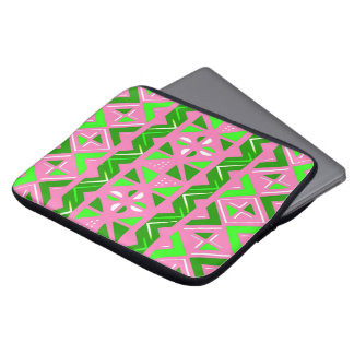 Pink & Green African Pattern Laptop Sleeves