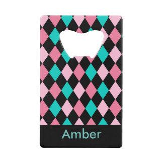 Pink Green and Black diamond geometric design
