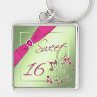 Pink, Green, and Yellow Sweet Sixteen Keychain