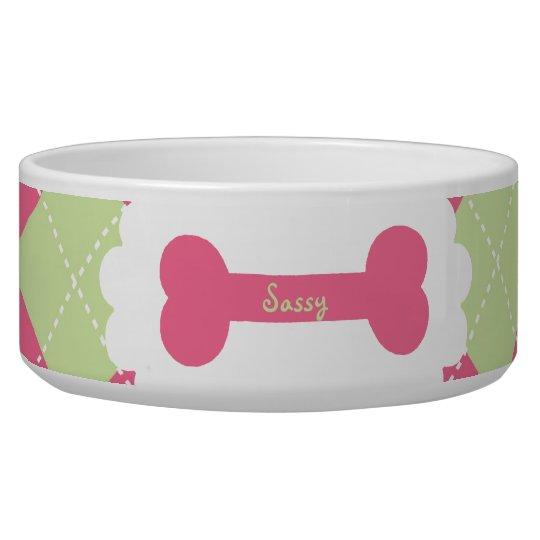 Pink & Green Argyle Personalised Dog Bowls